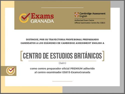 Certificado centro premium por EXAMS GRANADA